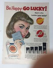 Original Print Ad 1952 LUCKY STRIKE Be Happy-Go Lucky Vintage Artwork