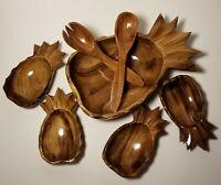 Vintage 7 piece Pineapple Shaped Wooden Salad Bowl Set