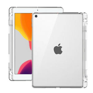 """For iPad 8th 7th Gen 10.2"""" Transparent Case with Pencil Holder TPU Protect Cover"""