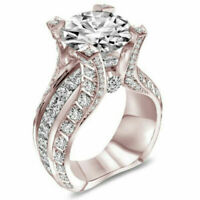 Round Faux Zircon with Side Cuts Engagement Wedding Rose Gold Ring   Size 7