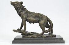 Western Bronze ART sculpture Statue wolf snarl genus Canis animal Figurine Figur