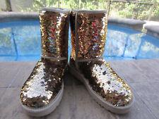 NIB WOMENS UGG AUSTRALIA SEQUIN CLASSIC SHORT BOOTS GOLD COMBO  SIZE 7