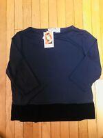 Kathy Ireland XL Knit Top NWT Navy Blue Velvet Trim 3/4 Sleeves