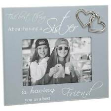 Sisters Grey Photo Frame With Sentiment and Raised Hearts Gift 271444