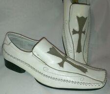 Delli Aldo Mens Dress Shoes Slip On Leather Loafer Rock Cross White Square Toe 7