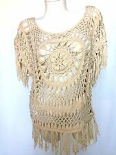 Say What Crochet Top Ivory Cream Beige Blouse Size L Boho Sheer Sexy 3/4 Sleeves