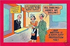 Proposition 50-50 Humor Old Comic Linen Post Card #8