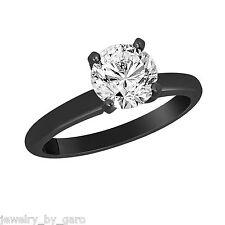 1.00 CARAT NATURAL DIAMOND SOLITAIRE ENGAGEMENT RING 14K BLACK GOLD HANDMADE
