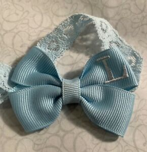 Light Baby Blue Monogram Dainty Hair Bow Headband Personalized Preemie Toddler