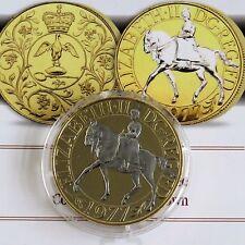 1977 Silver Jubilee corona en capas en 22ct oro y acentuado en rodio platino