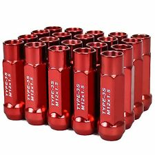TYPE 3-X 55MM STEEL OPEN END ALUMINUM LUG NUTS 20 PCS. SET M12 X 1.5 RED