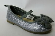 Carters Girls size 6 Baby Ballet Flats Gray Glitter Silver Mary Janes Shoes Bow