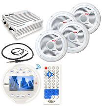 """6.5"""" Marine Speakers, Amplifier, White Bluetooth AM FM Mp3 Round Radio & Antenna"""