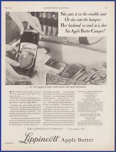 Vintage 1930 LIPPINCOTT Apple Butter Jam Jelly Kitchen Art Décor 30's Print Ad