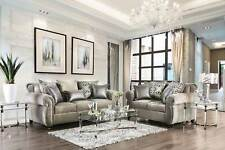 Transitional Style Gray Chenille Fabric Living Room Sofa Couch Loveseat Set IGEA