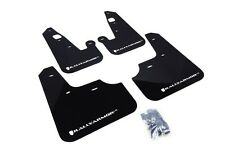 Rally Armor Black Mud Flap w/ White Logo For 2007+ Mitsubishi Lancer