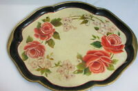 Vtg Hand Painted Tole Tray Floral Signed 1983 Measures 16 1/2'' x 13 1/2''