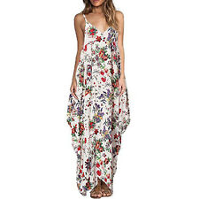 Womens Boho Long Maxi Dress Loose Plus Size Beach Holiday Casual Summer Sundress
