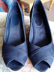 White Stuff Navy Blue Suede Ladies Wedge Shoes Size 6 VGC
