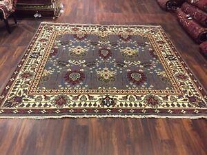 Sale Genuine Hand Knotted Indo Oushak Heriz Geometric Area Rug Carpet 7'2x7'8,25