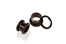 EXTERNALLY THREADED TUNNEL Pair of 2G Black PVD Body Jewelry NEW & UNOPENED