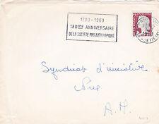 France 1961 PARIS 180th Aniversario Sociedad Filantrópica eslogan en pieza