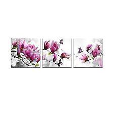 Cao Posters Prints Gen Decor Art Pink Flower 3 Panels Stretched Canvas Framed