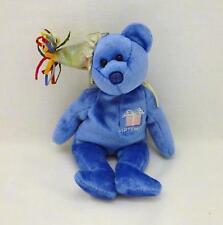 "2002 Ty BEANIE BABIES Blue SEPTEMBER 8.5"" Baby Birthday Bear, Soft Plush, No Tag"