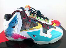 Nike Lebron XI WHAT THE LEBRON WTL Black Lava/Silver/Blue 650884-400 Size 8
