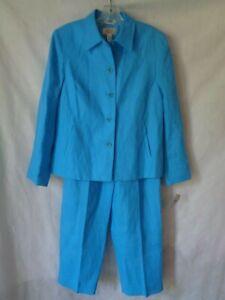 Talbots Petites Women's Blue Irish Linen Suit Lined Size 10P NWT