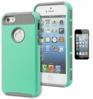 For iPhone 5, 5S, 5G, Hybrid Grey TPU Cover with Hard Mint Case+Screen Protector