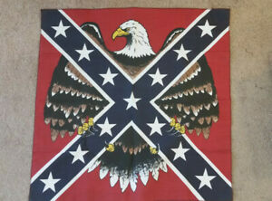 "Eagle Flag Bandana 21"" Hankerchief Red Blue Cotton"