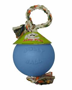 Jolly Pets Romp-n-Roll 4.5 inch Blueberry   Rubber Ball with Rope for Dogs