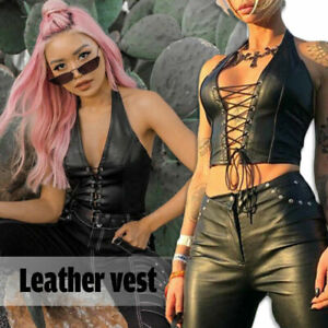 Women Gothic Faux Leather Tank Top Lace Up Halter Corset Bra Vest Cropped Tops