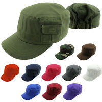 Military Army Hat Cadet Cap Side Pocket Camouflage Plain Solid Elastic Back New