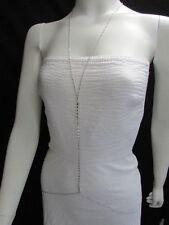 New Women Silver Rhinestones Link Thin Chain Fashion Metal Body Jewelry Necklace
