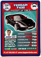 Ferrari F430 #279 Top Gear Turbo Challenge Trade Card (C362)