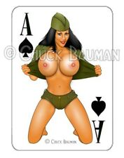 WW2 Bomber Girl Nina Stripper NUDE pin-up playing card style sticker decal