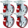 """Swivel Casters 5"""" x 2"""" 4 Polyurethane Casters Top Plate Side Brake"""