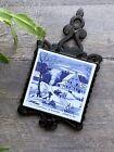 Vintage Courier & Ives cast iron ceramic tile trivet winter homestead