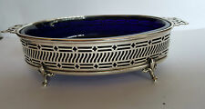 Elkington &Co  Silver Pierced Footed Oval Dish with Blue Glass Liner -1928
