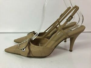 DIOR Cannage Beige Leather Quilted Slingback Heels Size 38 - 8