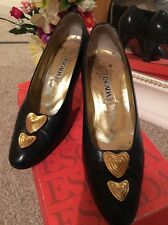Escada Vintage Audrey Hepburn Retro 50's 60's  Leather Love Heart Shoe 6