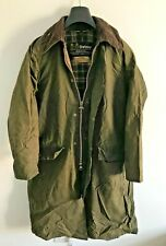 Mens Barbour Burghley wax jacket Green coat 36in size Small / Medium S/M Trench
