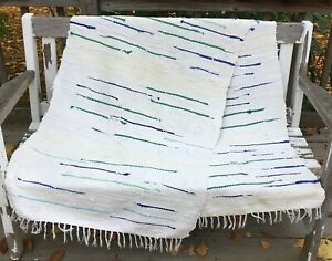 "Handmade Vintage Swedish One of a Kind Long Rag Rug 28"" wide x 95"" long"