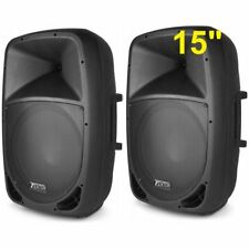"COPPIA CASSE AMPLIFICATE ATTIVE FULL RANGE pro 1500W WOOFER 38 CM 15"" IN ABS"