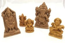 Hindu Statue Set Resin Stand Ganesha Saraswati Lakhshmi Set Of 5 Resin Brown 6""