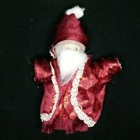 "Vtg German Santa Claus 6"" Porcelain Head Soft Body Red Shiny Brocade Robe & Hat"