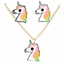 Unicorn Pendant gold colour necklace with Matching Pierced stud Earrings Set PI1