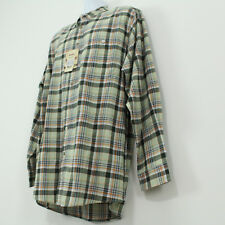 Wrangler Light Weight Green / Gray Plaid 100% Cotton Flannel Shirt Large Tall